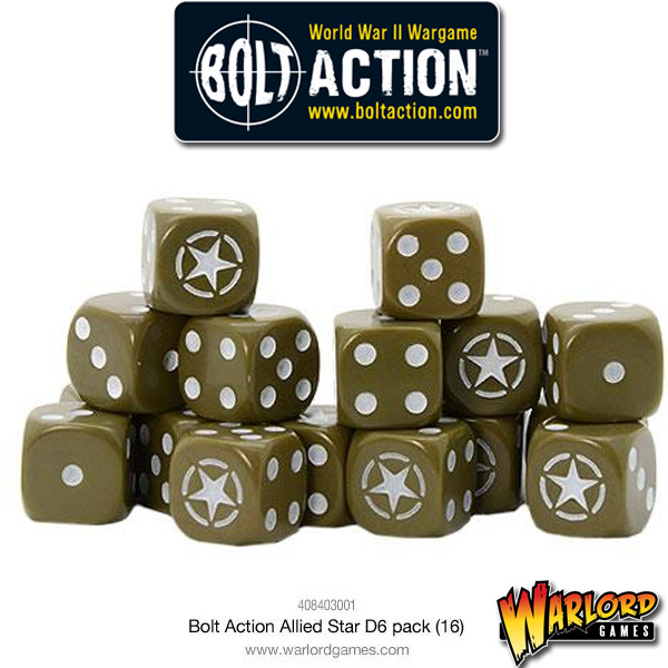 Bolt Action D6 Dice Pack - Allied Star